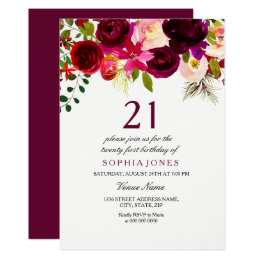 21st birthday invitations announcements zazzle burgundy floral boho 21st birthday party invite filmwisefo Gallery