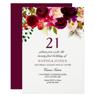Burgundy Floral Boho 21st Birthday Party Invite