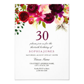 Burgundy Floral Boho 30th Birthday Party Invite