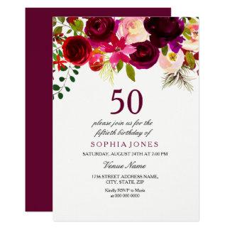 Burgundy Floral Boho 50th Birthday Party Invite