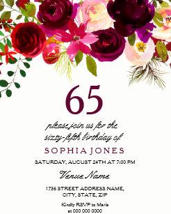 Purple 65th Gifts Birthday Invitations