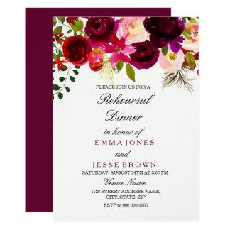 Burgundy Floral Boho Wedding Rehearsal Dinner card