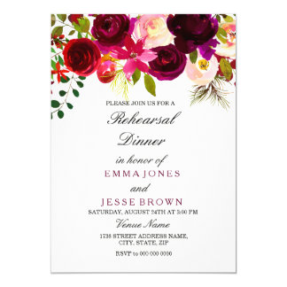 Burgundy Floral Boho Wedding Rehearsal Dinner card