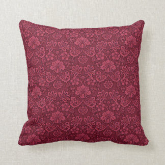 Burgundy Floral Brocade Print Pillow16x16 Cushion