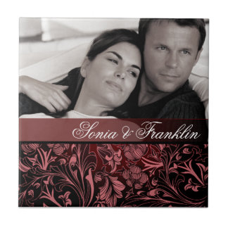 Burgundy Floral Damask Photo Wedding Favor Small Square Tile