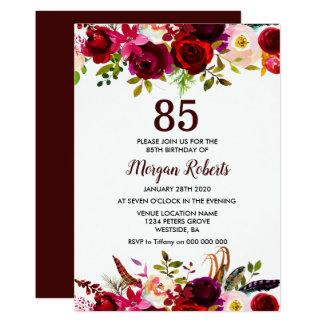 Burgundy Floral Elegant 85th Birthday Party Invite