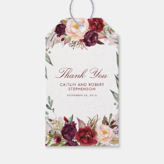 Burgundy Floral Gift Tags