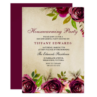 Burgundy Floral Gold Housewarming Party Invitation