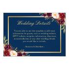 Burgundy Floral Gold Navy Blue Wedding Details Card