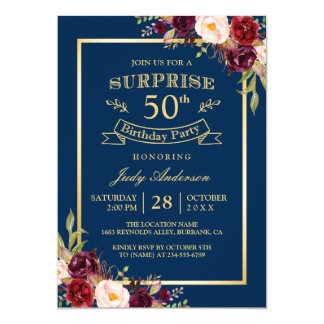 Burgundy Floral Gold Navy Surprise Birthday Party Card