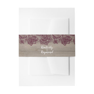Burgundy Floral Lace and Wood Invitation Belly Band