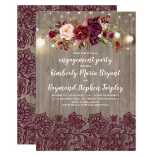 Burgundy Floral Lace Rustic Engagement Party Card