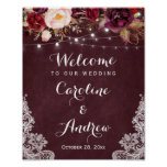 Burgundy Floral Lights Lace Wedding Welcome Sign