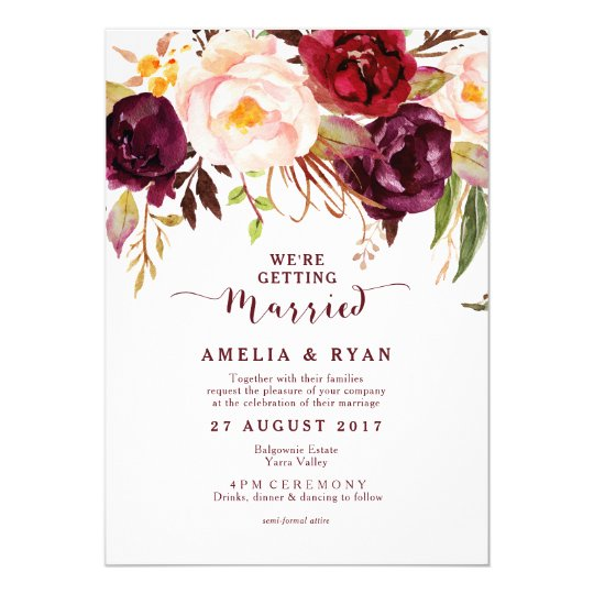 Burgundy Floral Marsala Wedding Invitation