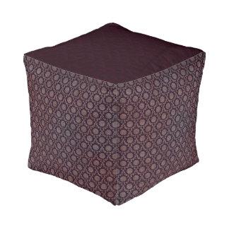 Burgundy Floral Medallion Pattern Cube Pouf Cube Pouffe