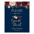 Burgundy Floral Navy Blue Guest book Wedding Sign