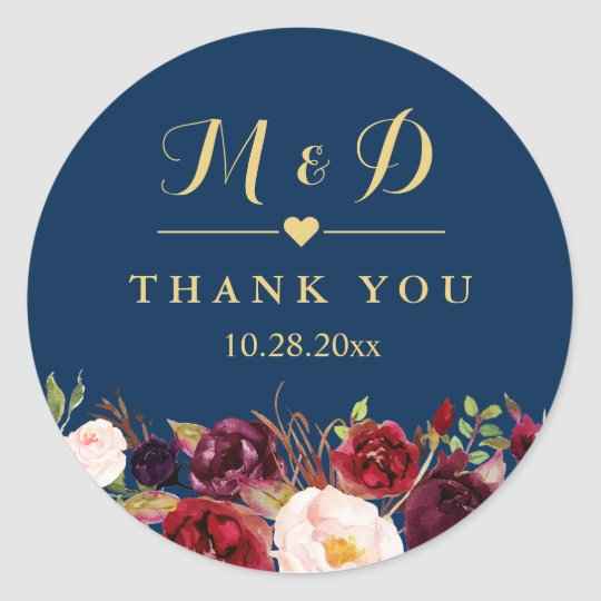 burgundy floral navy blue monogram wedding favour classic
