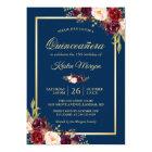 Burgundy Floral Navy Blue Quinceanera Birthday Card
