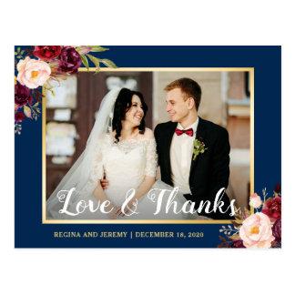 Burgundy Floral Navy Blue Wedding Photo Thank You Postcard