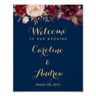 Wedding sign posters zazzle burgundy floral navy blue welcome wedding sign junglespirit Images
