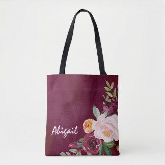 Burgundy Floral Peonies Personalized Tote Bag
