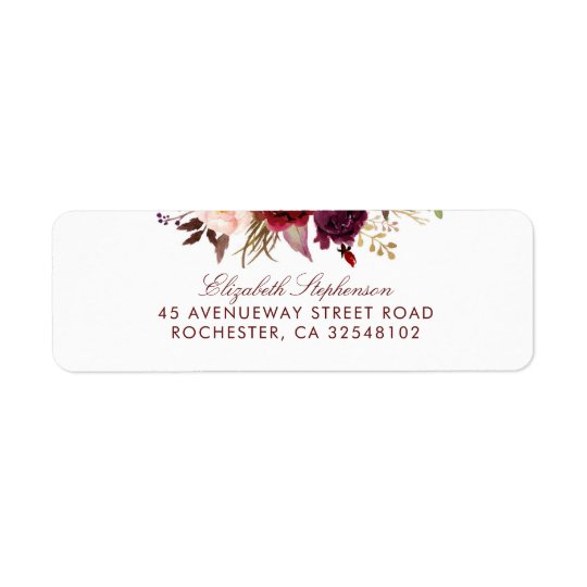 Burgundy Floral Return Address Label