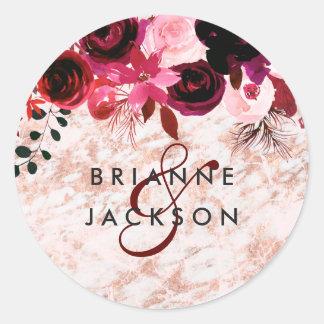 Burgundy Floral & Rose Gold Monogram Wedding Classic Round Sticker
