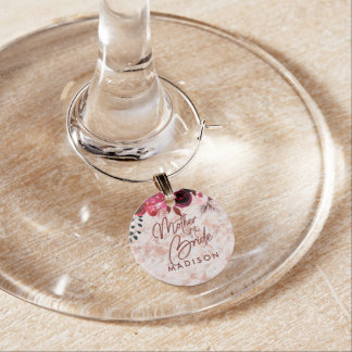 Burgundy Floral & Rose Gold Mother of the Bride Wine Charm