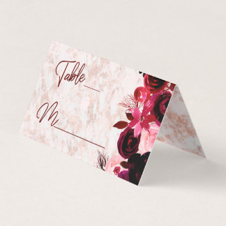 Burgundy Floral & Rose Gold Seating Table Number Place Card