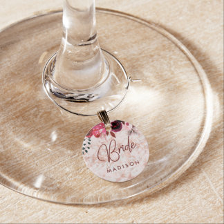 Burgundy Floral & Rose Gold Wedding Bride Monogram Wine Charm