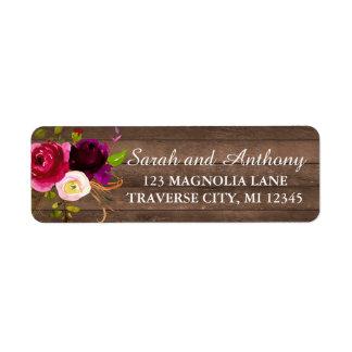 Burgundy Floral Rustic Gold Blush Rose Address Return Address Label