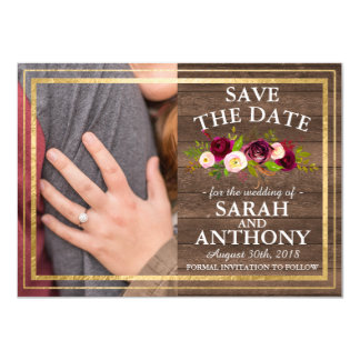 Burgundy Floral Rustic Gold Rose Save The Date Card