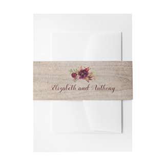 Burgundy Floral Rustic Invitation Belly Band