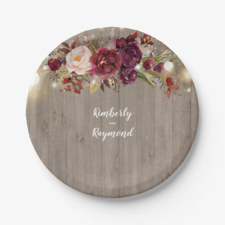 Burgundy Floral Rustic Paper Plate