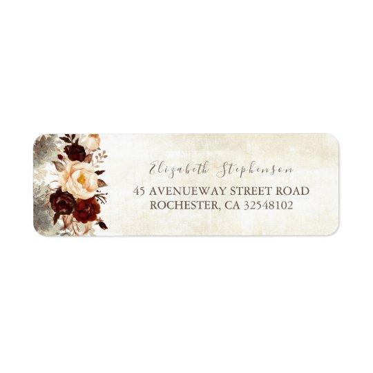 Burgundy Floral Rustic Return Address Label