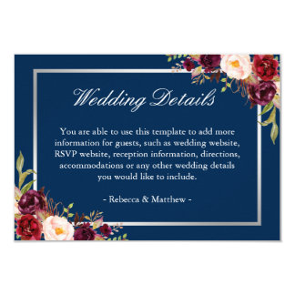 Burgundy Floral Silver Navy Blue Wedding Details Card