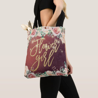 Burgundy Floral String Lights Wedding Flower Girl Tote Bag