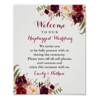 Burgundy Floral Unplugged Wedding Sign