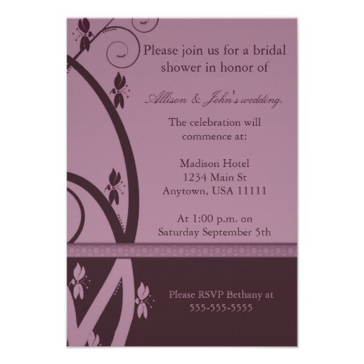 Burgundy Floral Vine Bridal Shower Invitation
