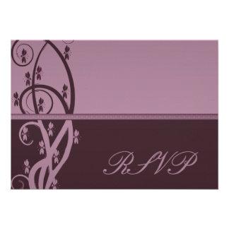 Burgundy Floral Vine RSVP Card