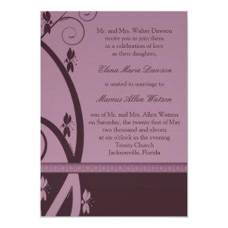 Burgundy Floral Vine Wedding Invitation