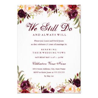 Burgundy Floral Vow Renewal Anniversary Invitation