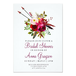 Burgundy Floral Watercolor Bridalshower Invitation