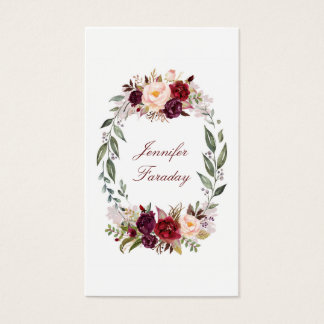 Burgundy Floral Watercolor Business Card