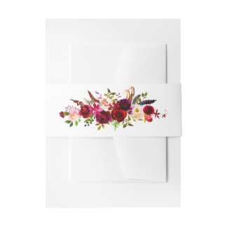 Burgundy Floral Watercolor Invitation Belly Band