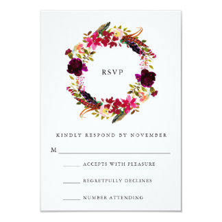 Burgundy Floral Watercolor RSVP Card
