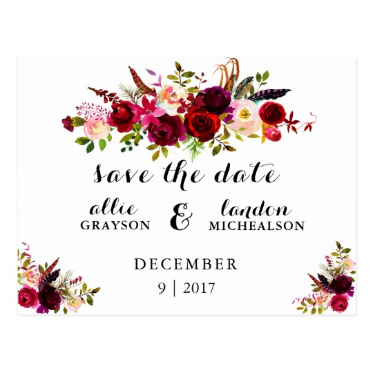 Burgundy Floral Watercolor Save The Date Postcard Zazzle