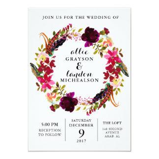 Burgundy Floral Watercolor Wedding Invitation