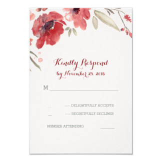 Burgundy Floral Watercolor Wedding Rsvp Cards 9 Cm X 13 Cm Invitation Card