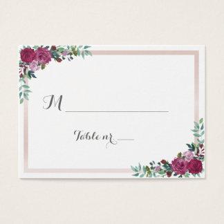 Burgundy Floral Wedding escort card